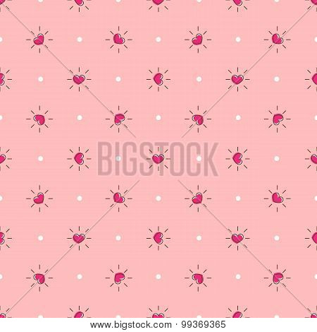 Vector pink hearts with rays seamless pattern. Hearts background in cartoon style
