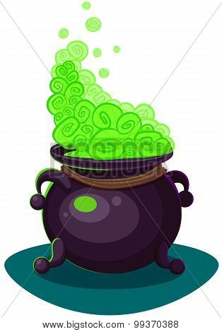 Witches Cauldron For Halloween Cards. Vector Clip Art Illustration