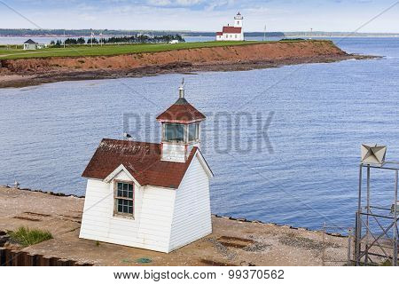 Wood Island Lighthouse and range light located in eastern Prince Edward Island, Canada.