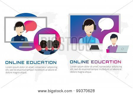 Online education vector illustration. Webinar, school, university courses. Students, people silhouette and online education objects. Man silhouette. Abstract people. Teambuilding. Group of people