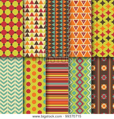 Set of seamless colorful retro patterns. Geometric style design.