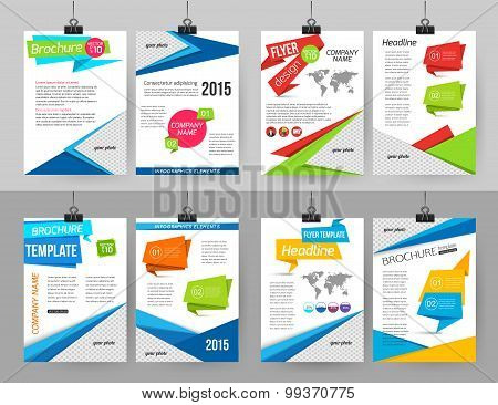 Set of corporate business stationery brochure templates with infographics elements and place for pho