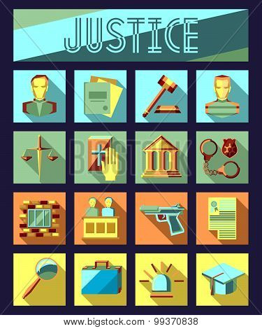 Set of law and justice flat icons with lawyer, jail court jury.