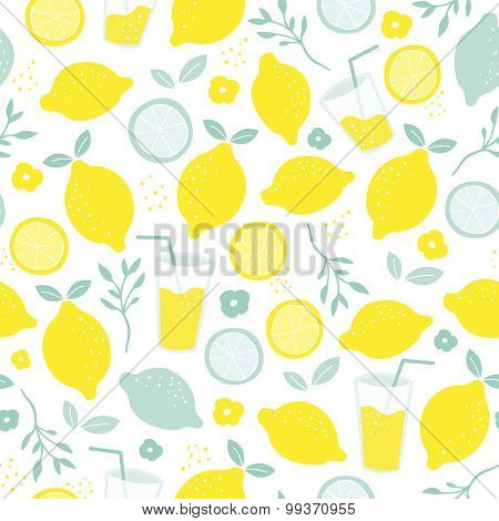 Seamless citrus fruit lemon juice mocktail lemonade illustration backgrounf pattern isolated on white in vector