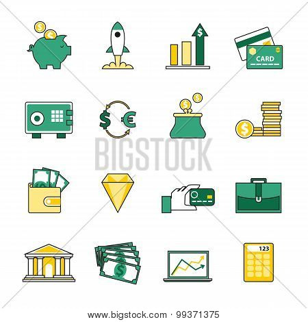 Set of banking and currency exchange line icons. Flat style design. Financial analytics and credit c