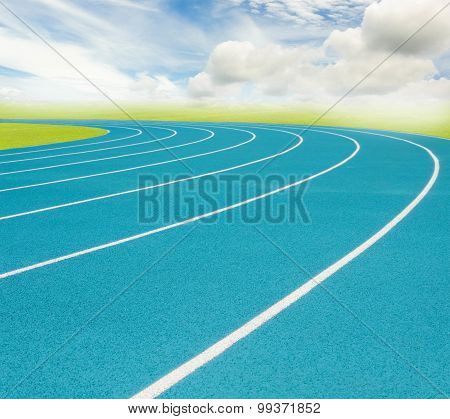 Blue Running Track And White Split Line