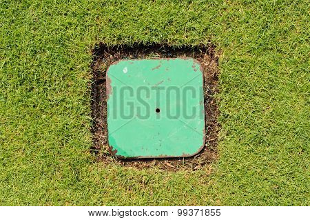Water Outlet On Green Lawn