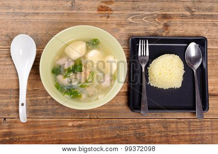 Thai Food Egg Tofu Soup