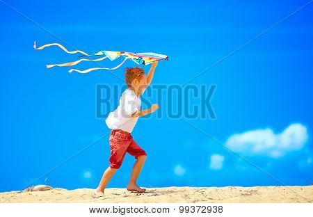 Happy Young Boy Running With Kite On Sky Background