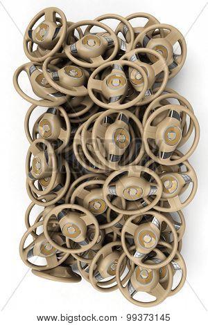 3D rendering of a pile of steering wheels