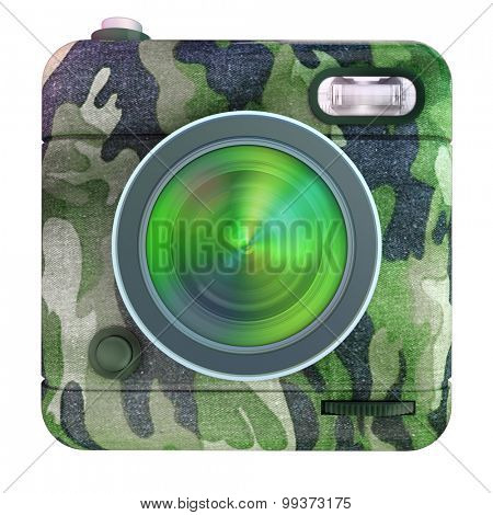 3D rendering of a photo camera icon with camouflage pattern