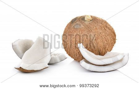 Coconut On A White Background