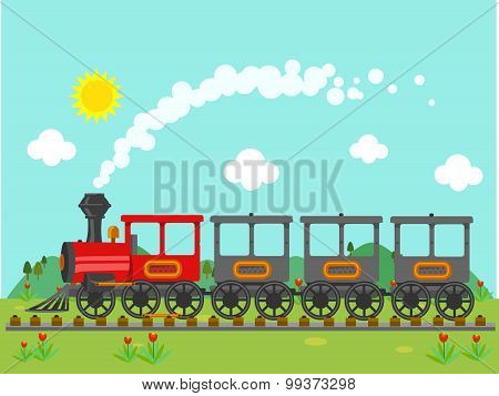 Vintage train in the countryside