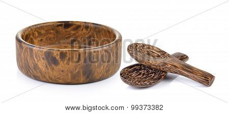 Wood Bowl And Wood Spoon On White Background
