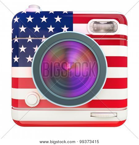 3D rendering of a photo camera icon with a US flag pattern