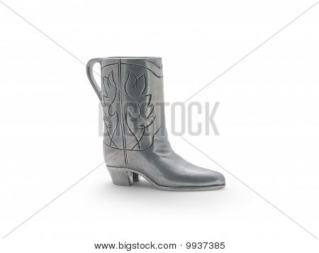 silver metal boot with details
