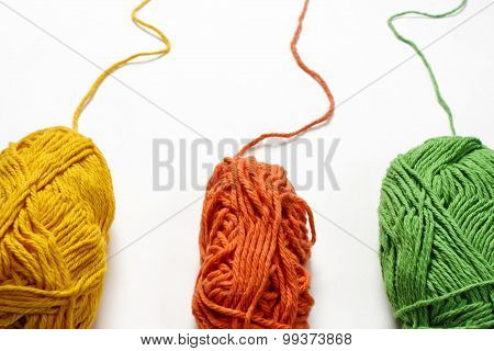 Colored Yarn on White Backdrop