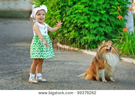 Little Girl And Dog Walking In The Park.