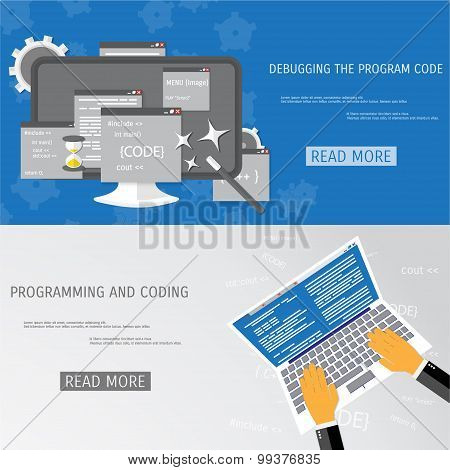 Vector flat concept of programming and coding