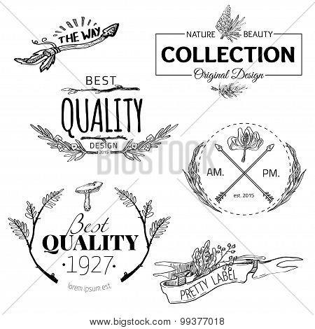 Set of vintage and modern farm logo labels