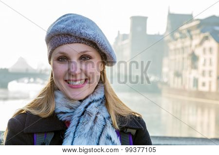 Girl smiling in Old Town, Zurich, Switzerland