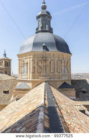 Spain, Belfry in Toledo, seen from the tiled roof