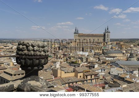 Toledo Alcazar views from a bell tower, fortress of the Spanish Civil War