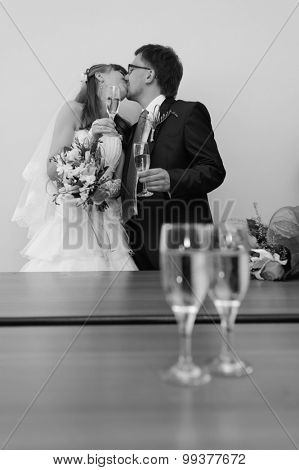 Young caucasian couple wedding portrait. Focus on couple