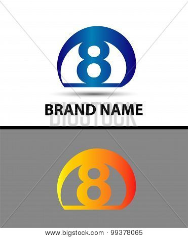 Vector sign logo number 8