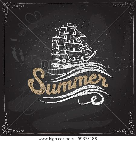 Chalkboard vintage label with a ship and hand lettering.