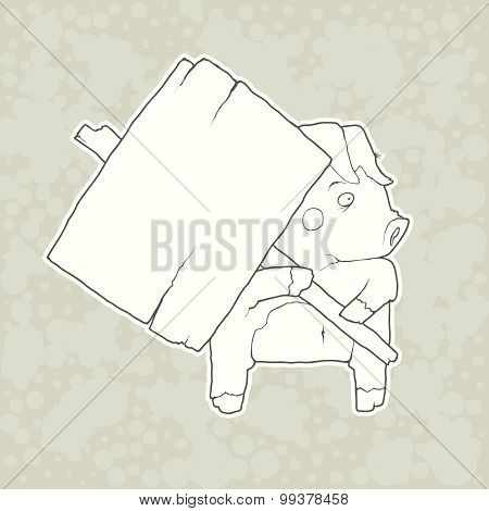 Cartoon Character Pig with wooden poster Isolated on Plain Background. Vector.