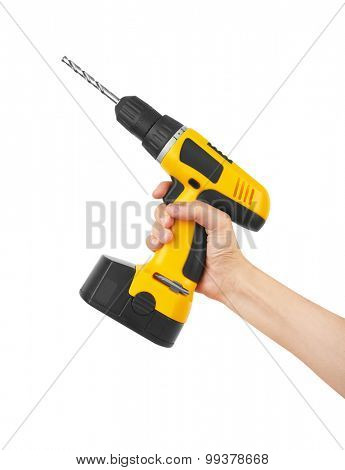 Battery screwdriver or drill on hand, isolated on white background