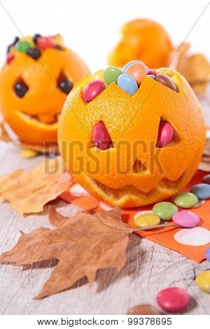 halloween orange and candy