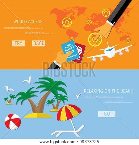 Vector travel and beach relax