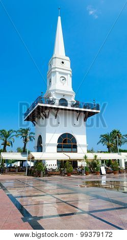 KEMER, TURKEY - August 14, 2015: Central clock tower