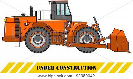 Wheel dozer. Heavy construction machine. Vector illustration