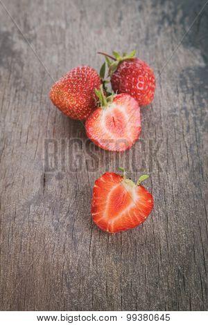 fresh strawberries on wood table