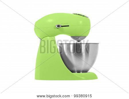 kitchen mixer with a bowl and beater isolated on white background