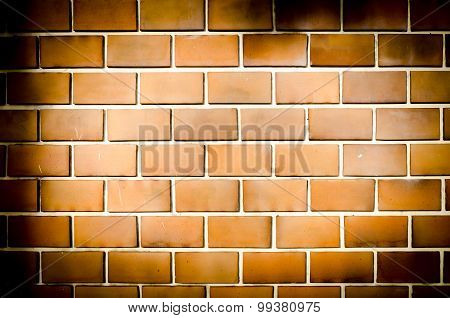 Grunge Orange Brick Wall,dark Tone