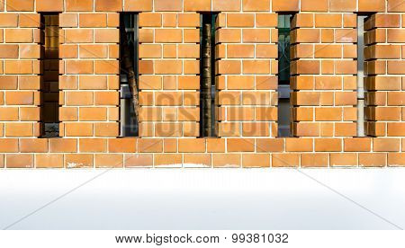 House Brick Wall With Space Between Posts
