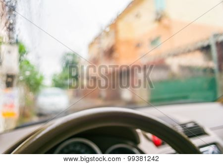 Blur Image Of Inside Cars With Bokeh During Raining On Day Time