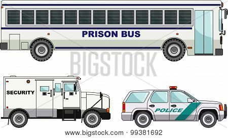 Prison bus, security and  police cars isolated on white background in flat style