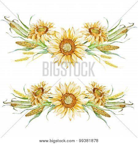 Watercolor Autumn floral arrangement