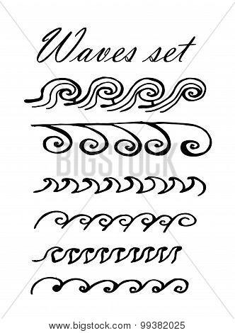 pattern set of waves vector illustration