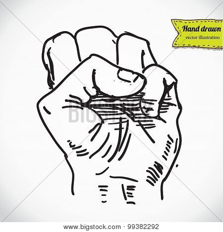 Doodle style protest fist vector illustration