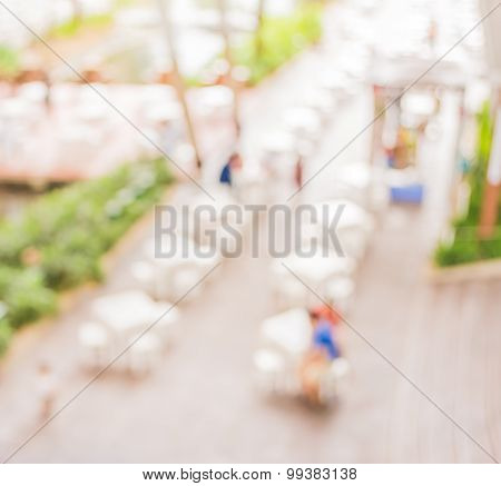 Blur Image Of Tables And Decoration Prepared For An Outdoor Party