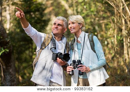 active middle aged couple hiking outdoors in forest