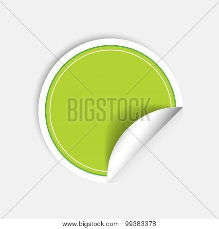 Vector Round Stickers With Curled Edge Isolated On White Background.