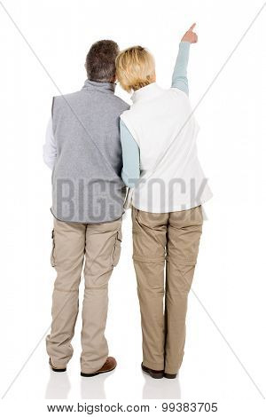 back view of senior couple pointing empty space isolated on white