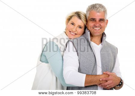 pretty middle aged woman hugging her husband